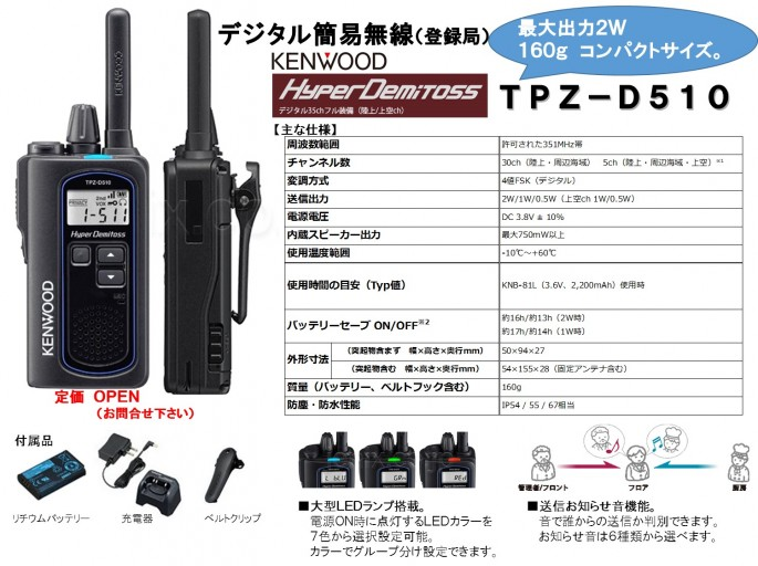 KENWOOD TPZ-D510新発売